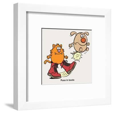 Puss In Boots - Antony Smith Learn To Speak Cat Cartoon Print-Antony Smith-Framed Art Print