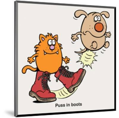Puss In Boots - Antony Smith Learn To Speak Cat Cartoon Print-Antony Smith-Mounted Art Print