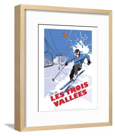 Les Trois Vallees - Dave Thompson Contemporary Travel Print-Dave Thompson-Framed Art Print