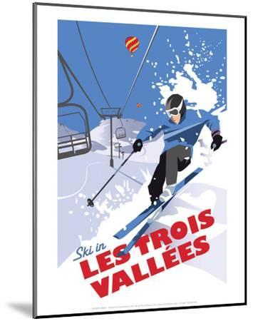 Les Trois Vallees - Dave Thompson Contemporary Travel Print-Dave Thompson-Mounted Art Print