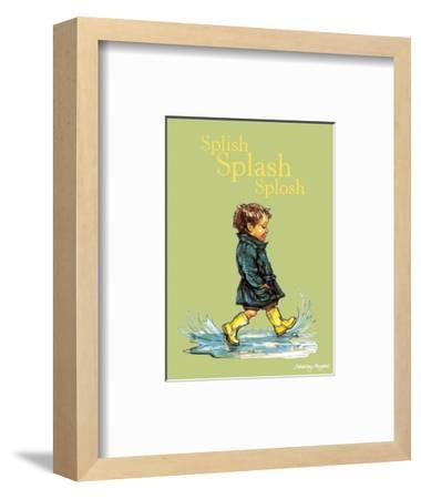 Splish Splash Splosh - Alfie Illustrated Print-Shirley Hughes-Framed Art Print
