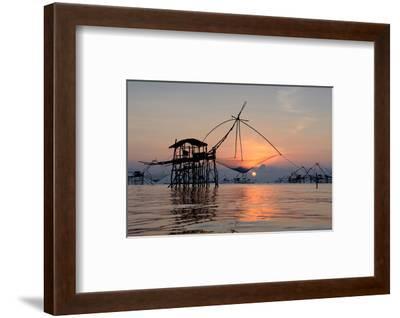 Fishing Patthalung Thailand--Framed Art Print