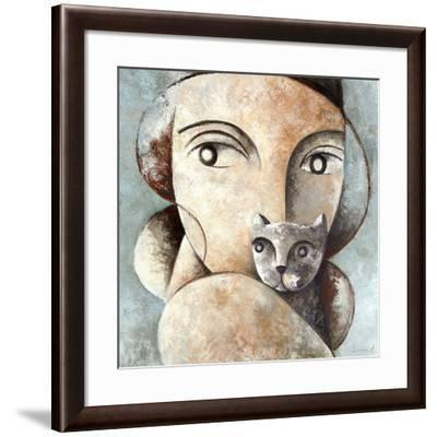 Cat and Woman-Didier Lourenco-Framed Art Print