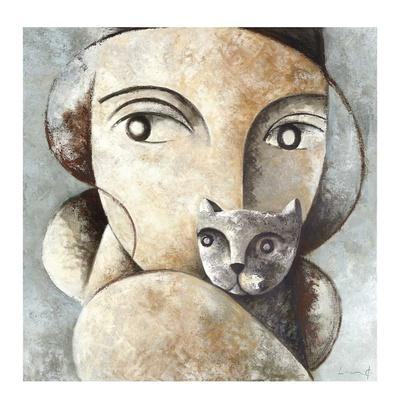 Cat and Woman-Didier Lourenco-Giclee Print