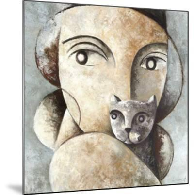 Cat and Woman-Didier Lourenco-Mounted Giclee Print