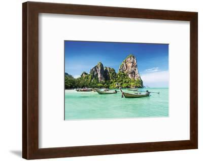 Longtale Boats on Thai Beach--Framed Art Print