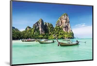 Longtale Boats on Thai Beach--Mounted Art Print
