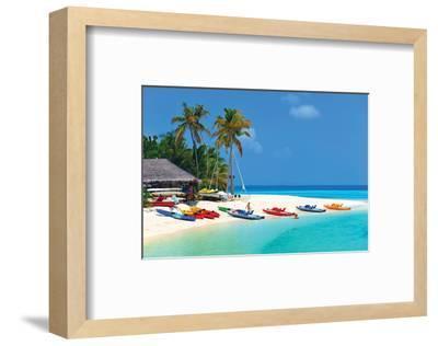 Maldives Island Beach & Boats--Framed Art Print
