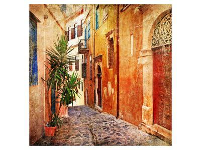 Old Pictorial Greek Streets--Framed Art Print