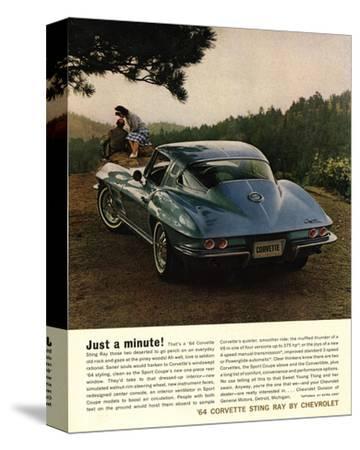 1964 Corvette - Just a Minute--Stretched Canvas Print