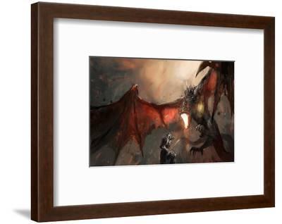 Knight Fighting Fire Dragon--Framed Art Print