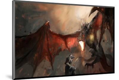 Knight Fighting Fire Dragon--Mounted Art Print