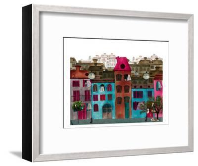 Whimsical Colorful City Street--Framed Art Print