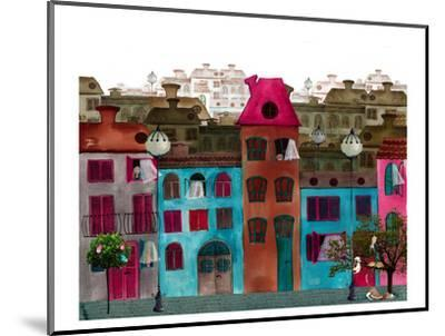 Whimsical Colorful City Street--Mounted Art Print