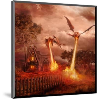 Fire Dragon Attack on Village--Mounted Art Print
