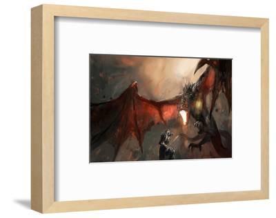 Knight Fighting Fire Dragon--Framed Premium Giclee Print