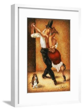 Dancing with a dog-Steven Lamb-Framed Art Print