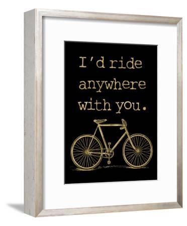 Bicycle I'd Ride Anywhere Golden Black-Amy Brinkman-Framed Art Print