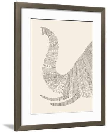 Elephant (On Beige)-Florent Bodart-Framed Art Print