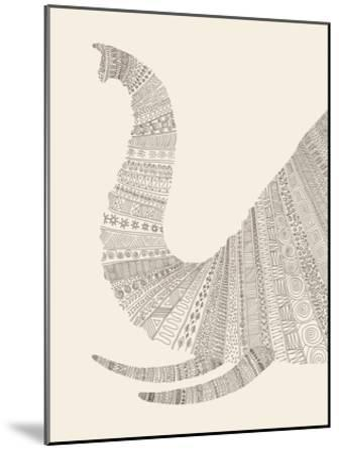 Elephant (On Beige)-Florent Bodart-Mounted Art Print