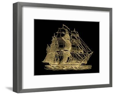 Ship 3 Golden Black-Amy Brinkman-Framed Art Print