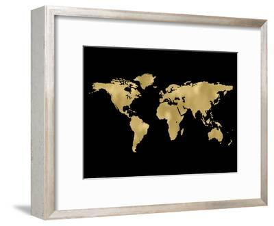 World Map Golden Black-Amy Brinkman-Framed Art Print