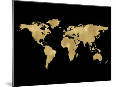 World Map Golden Black-Amy Brinkman-Mounted Art Print