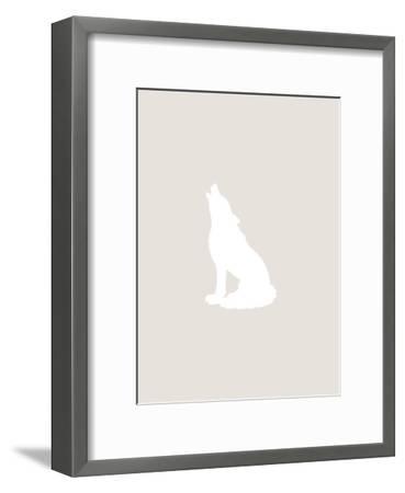 Beige White Wolf-Jetty Printables-Framed Art Print