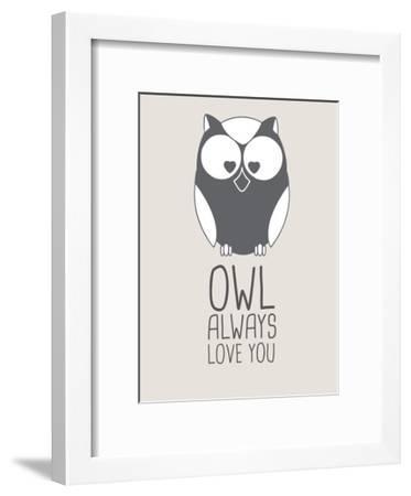 Beige Owl Always Love You-Jetty Printables-Framed Art Print