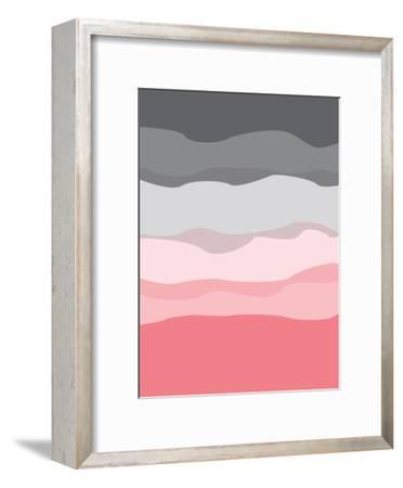 Coral Gray Abstract-Jetty Printables-Framed Art Print