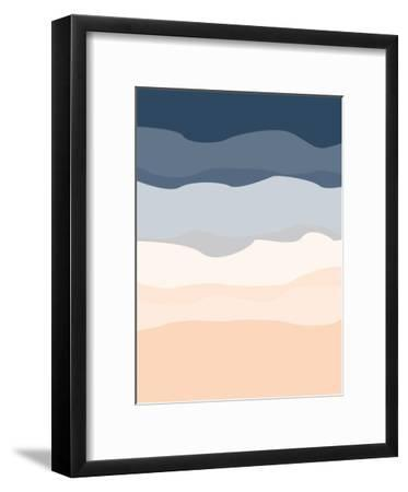 Navy Peach Abstract-Jetty Printables-Framed Art Print