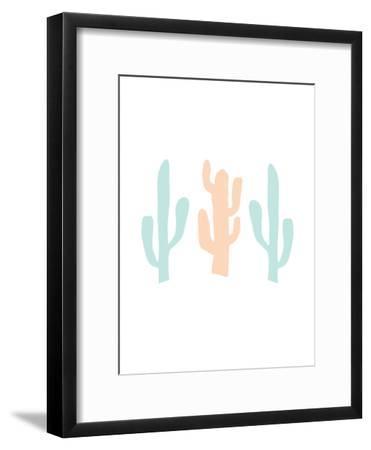 Mint Peach Cactus-Jetty Printables-Framed Art Print