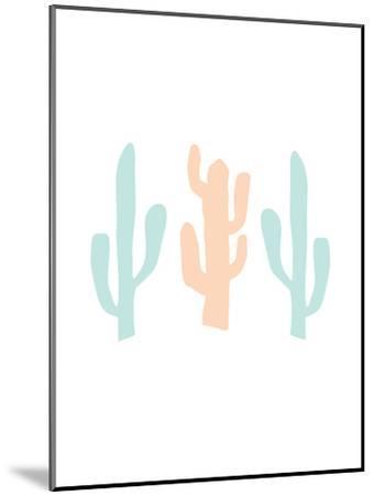 Mint Peach Cactus-Jetty Printables-Mounted Art Print