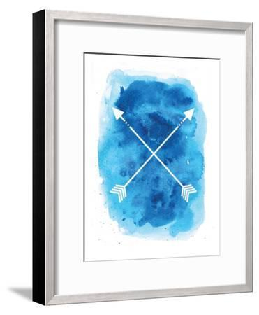 Watercolor Blue Background Arrow-Jetty Printables-Framed Art Print