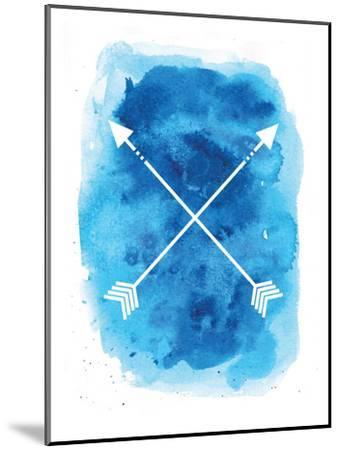 Watercolor Blue Background Arrow-Jetty Printables-Mounted Art Print