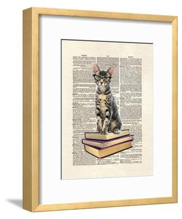 Book Cat-Matt Dinniman-Framed Art Print