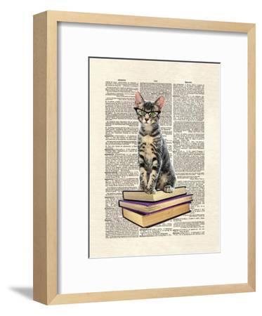Book Cat-Matt Dinniman-Framed Art Print