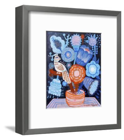 Blue Flowers-Mercedes Lagunas-Framed Art Print