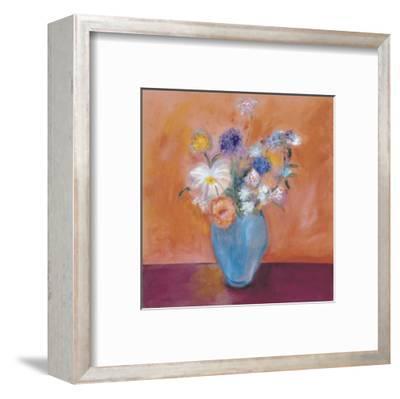 Blue Vase with Flowers-Nancy Ortenstone-Framed Art Print