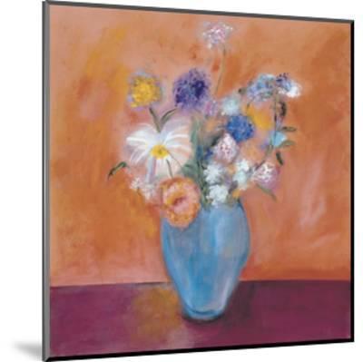Blue Vase with Flowers-Nancy Ortenstone-Mounted Art Print