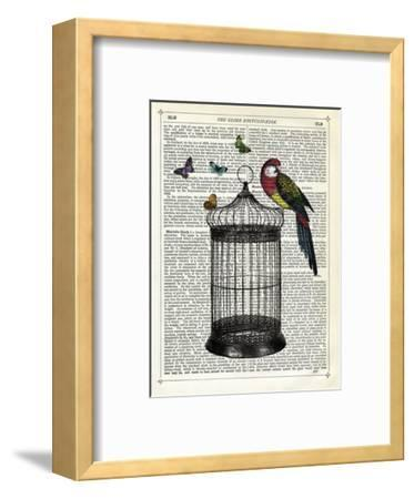 Bird Cage and Parrot-Marion Mcconaghie-Framed Art Print