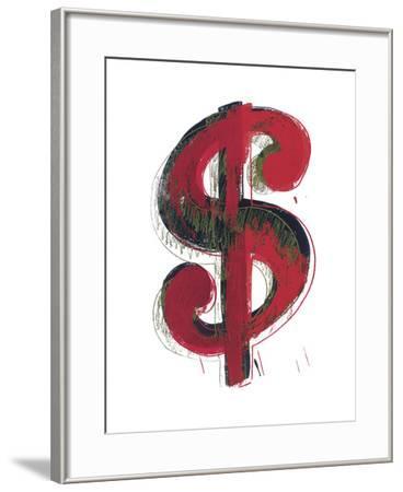 Dollar Sign, 1981 (red)-Andy Warhol-Framed Art Print