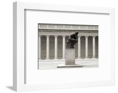 Rodin's Thinker in Profile-Christian Peacock-Framed Art Print