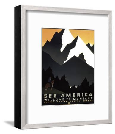 See America - Welcome to Montana II-Vintage Reproduction-Framed Art Print