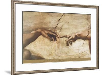 The Creation of Adam (detail)-Michelangelo-Framed Art Print