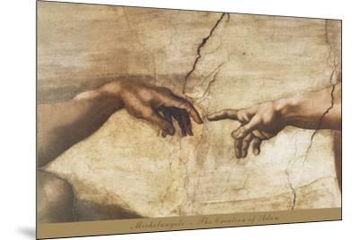 The Creation of Adam (detail)-Michelangelo-Mounted Art Print