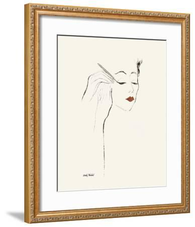 Untitled (Female Head and Hands Applying Eyeliner), c. 1955-Andy Warhol-Framed Art Print
