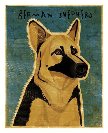 German Shepherd-John W^ Golden-Framed Art Print