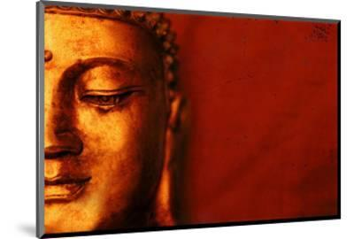Buddha Face & Red Background--Mounted Art Print