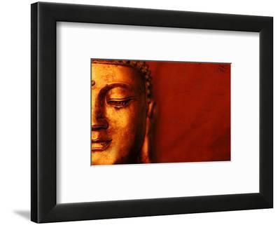Buddha Face & Red Background--Framed Art Print